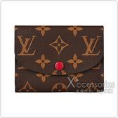 LV M41939 ROSALIE花紋LOGO Monogram帆布2卡扣式零錢包(紫紅)