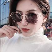 新款網紅眼鏡街拍個性太陽鏡女潮偏光圓臉墨鏡太陽鏡 滿天星