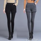 加絨加厚假兩件打底褲女大碼外穿秋冬修身踩腳純棉褲彈力高腰小腳 快速出貨