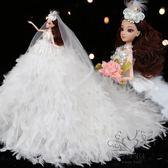 芭巴比娃娃套裝大禮盒女孩公主超大羽毛拖尾婚紗娃娃玩具生日新年禮物【1件免運】