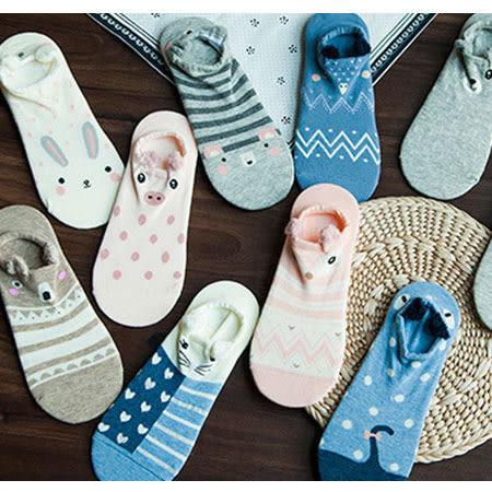 立體耳朵動物隱形襪 船型襪 淺口船襪 短襪 短襪 襪子 造型襪 流行襪