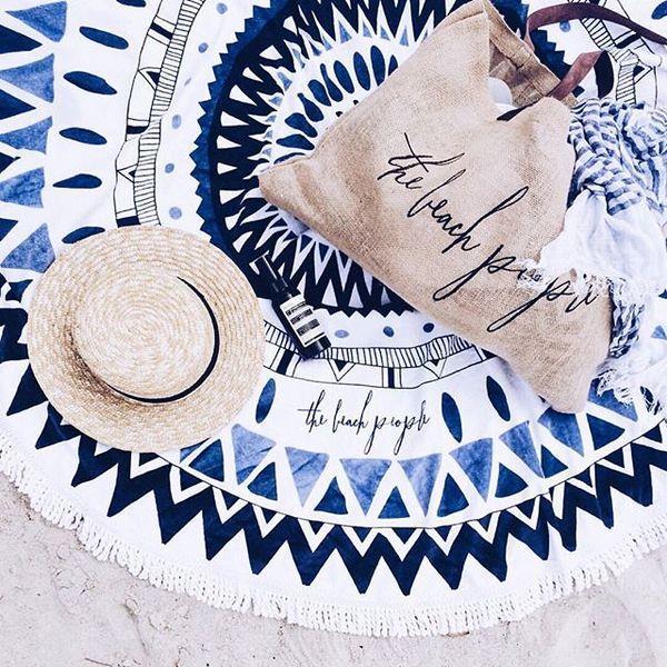 戶外海邊非必備便攜超輕防沙野餐布墊子席用品圓形防潮水沙灘地墊 黛尼時尚精品