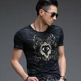 男T恤短袖上衣 夏季男式短袖印花T恤 男裝修身時尚純棉T恤《印象精品》t3314