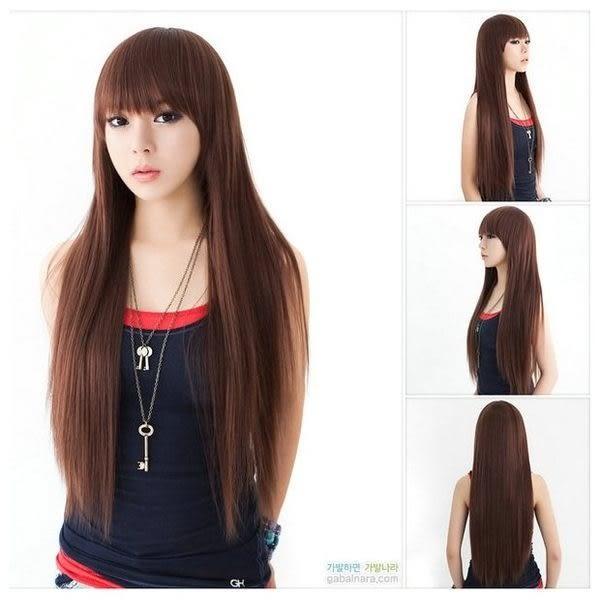 【WAK】 W438 仿真齊劉海長直髮全頂式高溫耐熱絲假髮
