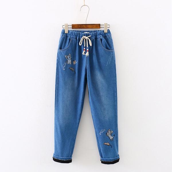 刺繡磨白做舊鬆緊腰加絨牛仔褲(2色S~L)*ORead*