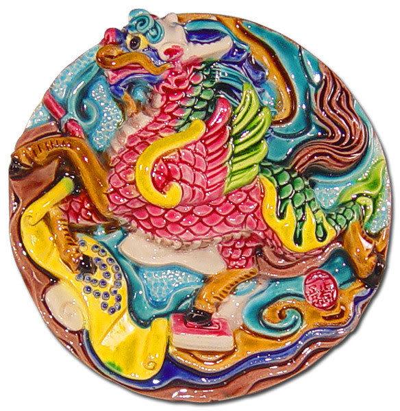 居家開運商品-台灣國寶交趾陶裝飾壁飾-正方立體框【龍馬精神】附精美包裝◆免運費送到家