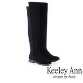 ★2018秋冬★Keeley Ann完美顯受~拼接側拉鍊膝上長靴(黑色) -Ann系列