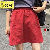 短裙--遮肉質感加倍鬆緊褲頭附安全褲兩側大口袋素面A字裙(黑.紅L-5L)-Q129眼圈熊中大尺碼◎