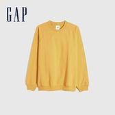 Gap男裝 碳素軟磨系列 法式圈織舒適圓領休閒上衣 837452-金黃色