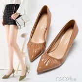 高跟鞋 尖頭百褶皺軟面皮高跟性感女鞋細跟黑白色舒適單鞋新款工作鞋 coco衣巷