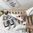 PAPORA撲克牌印花平底帆布鞋板鞋(偏小一碼)K2319