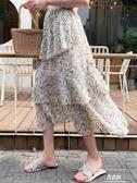 半身洋裝適合胯大腿粗的裙子女中長款雪紡碎花半身裙A字高腰波點蛋糕裙夏(快速出貨)