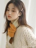 圍巾 小圍巾女秋冬季護頸韓版可愛少女保暖針織百搭拼色裝飾短圍脖 小天使 99免運