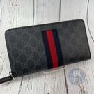 BRAND楓月 GUCCI 古馳 481729 經典雙G紋 藍紅藍配色 織帶風格 手拿長夾 錢包 錢袋 錢夾