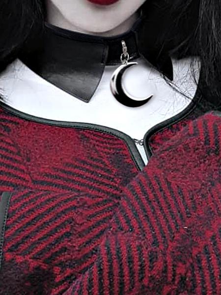 克妹Ke-Mei【AT57361】Killstar暗黑哥德風金屬月牙重金屬皮革頸鍊