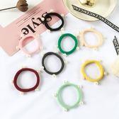 [協貿國際]飾品 珍珠頭繩釘珠髮繩無接縫髮圈頭飾頭花皮筋1入