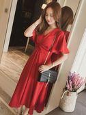 大尺碼女裝(S-5L)夏裝免運腰粗遮肚子藏肉洋氣紅色收腰洋裝洋裝推薦