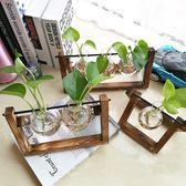 創意木架水培植物玻璃花瓶 水養綠蘿花盆容器 透明桌面擺件插花瓶 不含植物wy