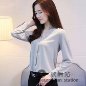 雪紡衫/春裝新款白色襯衫女韓版V領小衫寬鬆顯瘦長袖百搭上衣