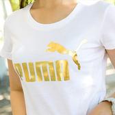 PUMA BT系列 No.1燙金logo短袖T恤 短T 女 白 84384952 熱賣中!