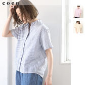 立領襯衫 棉麻上衣 直條紋襯衫 現貨 免運費 日本品牌【coen】