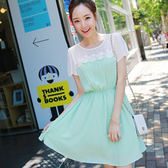 ☆ENTER☆短袖洋裝 淺綠蕾絲花邊雪紡收腰短袖連身裙【GO1105】04/24