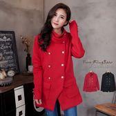 外套--修飾身型款英倫格調領環雙排釦內刷毛外套(黑.紅2L-5L)-J103眼圈熊中大尺碼