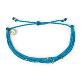 Pura Vida 美國手工 金色Malibu串珠 霓虹藍色臘線衝浪手鍊手環