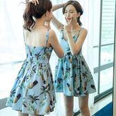 2019夏季新款時尚小清新菠蘿印花沙灘裙度假吊帶短裙網 伊蒂斯女裝