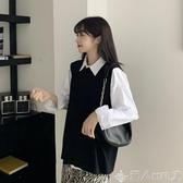 針織馬甲秋季2020新款韓版寬鬆黑色針織馬甲女外穿坎肩背心毛衣秋外搭外套 潮人