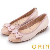 ORIN 甜美輕柔 鞋頭壓紋全牛皮蝴蝶結娃娃鞋-粉紅