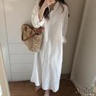 白色襯衫女新款韓版寬松設計感小眾超長過膝棉麻襯衣洋裝 OO213『Bad boy時尚』213