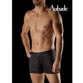 Aubade man-壞男人M-XL舒棉平口褲(黑金點點)