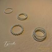 戒指極細疊戴施華洛珍珠食指戒指環尾女【繁星小鎮】