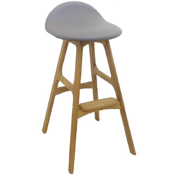 吧檯桌椅 SB-934-16 好滴原木本色灰皮吧台椅【大眾家居舘】