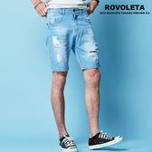 抓痕刷破牛仔短褲【R1R-1621】(ROVOLETA)