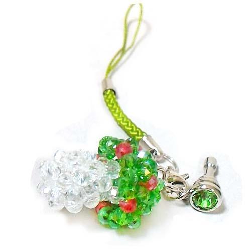 蘑菇水晶串珠防塵塞吊飾