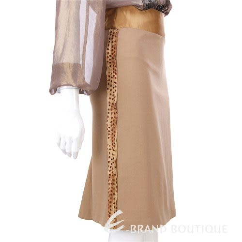 Lorella Braglia 駝色豹紋飾邊及膝裙 0510662-02