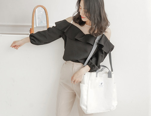 【帆布包】純棉 撞色橫款 帆布袋 側背包 肩背包 斜跨包/肩背+手提+斜跨/瑩白