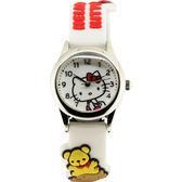HELLO KITTY 凱蒂貓Morning熊馬卡龍腕錶-白 HKFR927-16A