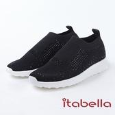★2018春夏新品★itabella.休閒時尚 閃亮水鑽針織休閒鞋(8376-95黑)