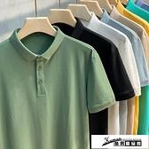 短袖Polo衫 2021新款男士高端純色Polo衫短袖t恤男裝夏季上衣服翻領潮流韓版 酷男