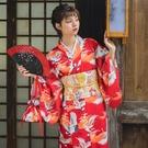 和服 月下和服 大紅仙鶴 女士日本改良和服浴衣 日系復古攝影寫真服裝 風尚3C