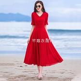 紅色裙子女夏新款小個子長款大擺雪紡連衣裙超仙氣質沙灘長裙 快速出貨