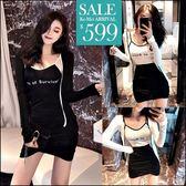 克妹Ke-Mei【ZT47304】歐美時尚字母撞色背心+不規則開叉裙三件式套裝
