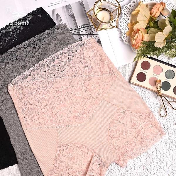 單品褲 LaBome C60083【蕾絲小姐】高腰蕾絲無痕褲。粉色/灰色/黑色。L~XL