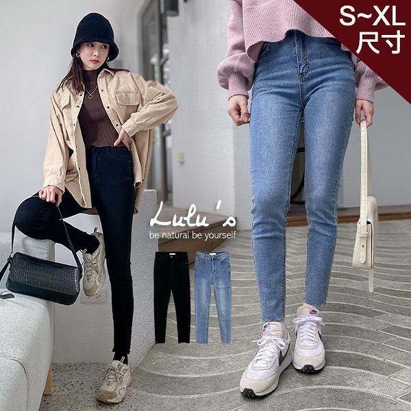 LULUS特價【A04200238】Y不修邊窄管牛仔長褲S-XL2色