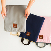 補習包 簡約純色手拎多功能多層A4檔袋拉鍊手提包牛津帆布補習包 3色