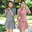 兩件套裝春夏季台灣民族風女裝短款小個子修身復古唐裝旗袍連衣裙 快速出貨