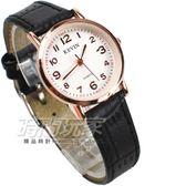 KEVIN 數字時刻簡約時尚腕錶 防水手錶 皮革錶帶 女錶 黑x玫瑰金 KV3068黑小